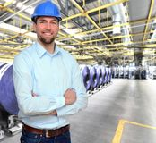 Engineer works in the printing industry - production of daily n royalty free stock photos