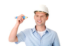Engineer writing on copy space Stock Photography