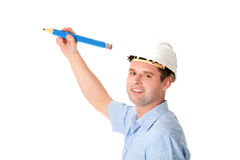 Engineer writing on copy space Royalty Free Stock Photos