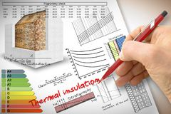 Engineer writing formulas and diagrams about thermal insulation and buildings energy efficiency - concept image vector illustration