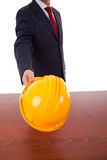 Engineer yellow helmet Royalty Free Stock Photography