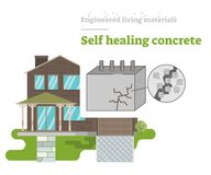 Self Healing Concrete - Engineered Living Material. Engineered Living Materials vector illustration with Self Healing Concrete Stock Image