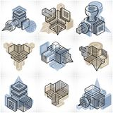 Engineering abstract geometric shapes, simple set. Modern geometric art composition. n Royalty Free Illustration