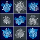 Engineering abstract geometric shapes, simple vectors set. Geometric artistic composition Stock Illustration