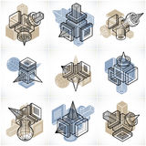 Engineering abstract geometric shapes, simple vectors set. Stock Photo