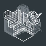 Engineering abstract shape, 3d  polygonal figure. Royalty Free Stock Photography