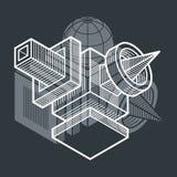 Engineering abstract shape, 3d  polygonal figure. Modern geometric art illustration Royalty Free Stock Photography