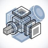 Engineering abstract shape, 3d  polygonal figure. Modern geometric art illustration Stock Photography