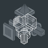 Engineering abstract shape, 3d vector polygonal figure. Stock Photo