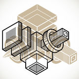 Engineering abstract shape, 3d vector polygonal figure. Artisic abstraction illustration Royalty Free Stock Photography