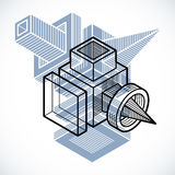 Engineering abstract shape, 3d vector polygonal figure. Royalty Free Stock Image