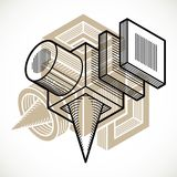 Engineering abstract shape, 3d vector polygonal figure. Modern geometric art composition Stock Photo