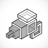 Engineering abstract shape, 3d vector polygonal figure. Modern geometric art illustration Royalty Free Stock Photo