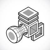 Engineering abstract shape, 3d vector polygonal figure. Modern geometric art illustration Royalty Free Stock Photography