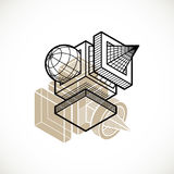 Engineering abstract shape, 3d vector polygonal figure. Stock Photos