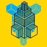 Engineering abstract shape, 3d vector polygonal figure. Modern geometric art illustration vector illustration