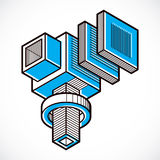 Engineering abstract shape, 3d vector polygonal figure. Stock Image