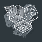 Engineering abstract shape, 3d vector polygonal figure. Royalty Free Stock Images