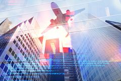Engineering and aero technology concept. Abstract city background with airplane and HTML code. Engineering and aero technology concept. Double exposure Royalty Free Stock Photo
