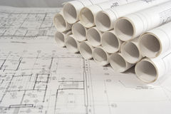 Engineering and architectural drawings. Rolls of engineering (or architectural) drawings (blueprints Royalty Free Stock Image