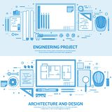 Engineering and architecture. Drawing construction. Architectural project. Design sketching. Workspace with tools vector illustration
