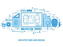 Engineering and architecture. Drawing construction. Architectural project. Design sketching. Workspace with tools royalty free illustration