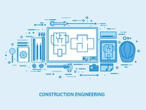 Engineering and architecture. Drawing construction. Architectural project. Design sketching. Workspace with tools. Planning building. Flat blue outline stock illustration