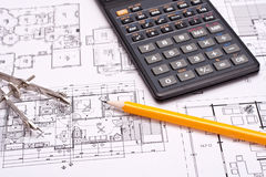 Engineering and architecture drawings Royalty Free Stock Photography