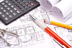 Engineering and architecture drawings Royalty Free Stock Photos