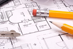 Engineering and architecture drawings Royalty Free Stock Image