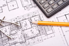 Engineering and architecture drawings Stock Image