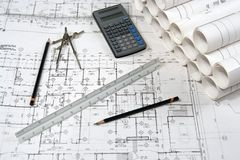 Engineering and Architecture Drawings Royalty Free Stock Photo