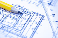 Engineering and architecture drawings Stock Images