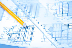 Engineering and architecture drawings with pencil Stock Image