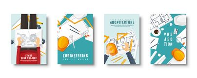 Engineering and architecture flat style covers set. Drawing construction. Architectural project. Design and sketching royalty free illustration