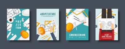 Engineering and architecture flat style covers set. Drawing construction. Architectural project. Design and sketching vector illustration