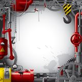 Engineering background. Raster version of vector engineering background with gears, levers, pipes, meters, production line, flue and lifting crane Stock Photography