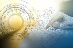 Engineering background with gears draft on virtual screen. Business innovation and modern technology concept. Engineering background with gears draft on virtual royalty free stock photography