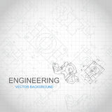 Engineering background with technical drawing.  Royalty Free Stock Photos