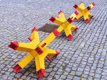 Engineering barriers against terror on the city street.  Stock Photo