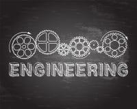 Engineering Blackboard. Hand drawn engineering sign and gear wheels on blackboard Stock Photo