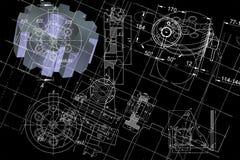 Engineering blueprint. On black background Stock Photos