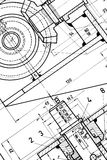 Engineering blueprint. Very detailed mechaninal engineering blueprint stock photography