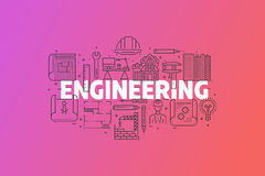 Engineering And Blueprint Banner Illustration. stock images