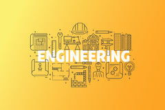 Engineering And Blueprint Banner Illustration. royalty free stock image