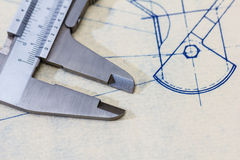 Engineering blueprint with gauge / calliper Stock Photos