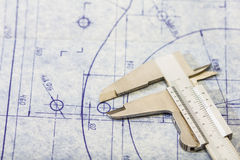 Engineering blueprint with gauge. Very detailed mechanical engineering blueprint with gauge stock images