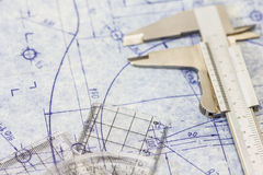 Engineering blueprint with gauge Royalty Free Stock Image