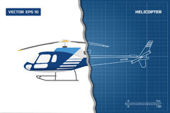 Engineering blueprint of helicopter. Helicopters view: top, side and front. Industrial drawing Royalty Free Stock Images
