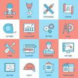 Engineering And Blueprint Icons Set Stock Photos